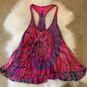 Tops - Beautiful Bright Color Tie Dyed Racer Tank